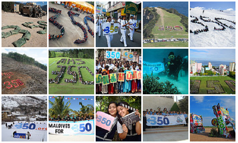 Sample photographs of events organized by 350.org in 2008 and 2009. Click on the image to open 350.org's photo album.